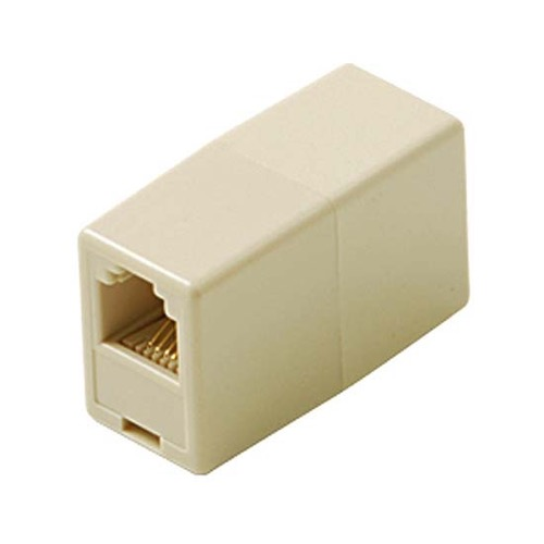Summit 4C Ivory Coupler Conductor Modular Phone In-Line Telephone Cord Extension Plug Connection Line Snap-In, Standard Splice Jack Add-On Fax Cable Wire Adapter