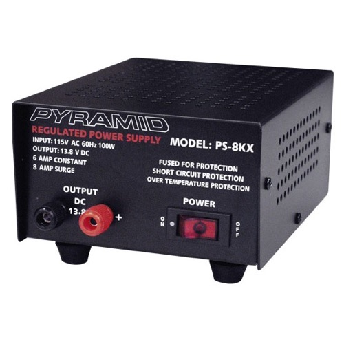 Pyramid PS-8KX 12 VDC 6 Amp Power Supply AC/DC Converter 115 VAC Input 100 Watts Output 13.8 VDC, Fully Regulated Solid State Low Ripple Power Supply with Screw Terminals and Fuse Protected, Part # PS8KX