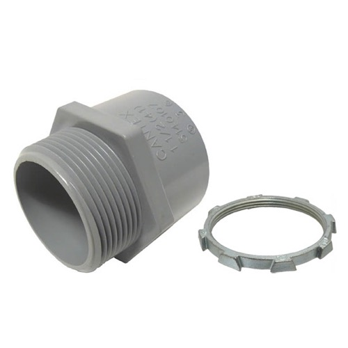"Eagle 1"" Inch PVC Connector Sch80 with Locknut Electrical Conduit Adapter Male Grey Fitting PVC Conduit ASTM Standard"