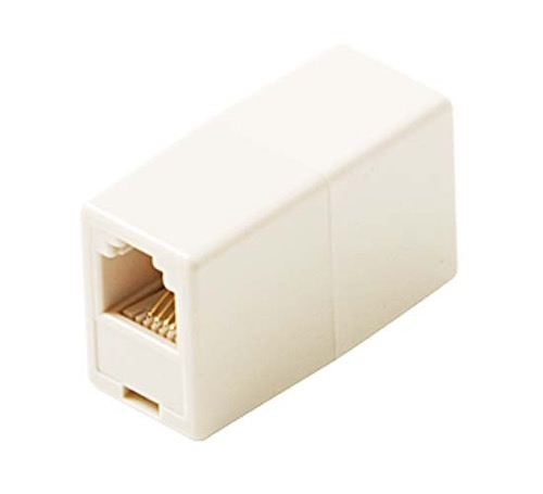 GE TL26190 Phone In-Line Cable RJ11 Coupler White Female Modular Telephone Jack Cord Add-On Snap Plug Extension and Splice Connection, Fax Adapter, Part # TL-26190