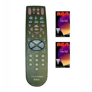 RCA Universal Remote Control Dish Network DIRECTV Replacement 4 Function Satellite Receiver Switcher with 2 Free RCA Video Tapes, Part # RMT1VP