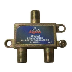 Eagle Aspen 500302 2 Way Splitter 5 - 1000 MHz 1 GHz Passing P1000 All Ports DC Passive Video Coax Cable High Performance Signal Combiner, Commercial Grade, Part # P1000-2AP-GX