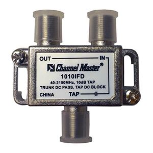 PCT 1010IFD 10 dB Directional Tap 2 GHz 1 Way Tap 40 - 2150 MHz T-Type 2 GHz 75 Ohm DC Passive Trunk DC Pass Tap DC Block High Frequency UHF / VHF Video Signal TV Antenna Coax Cable, Part # 1010-IFD