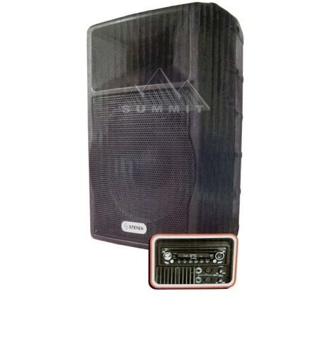 "Steren BAF-1590-MIC Portable PA System Indoor Outdoor CD Player Public Address Entertainment in Box 3500 Watts AM FM Karaoke DJ Applications RCA 1/4"" XLR Ports 15"" Speaker Tuner, Part # BAF1590-MIC"