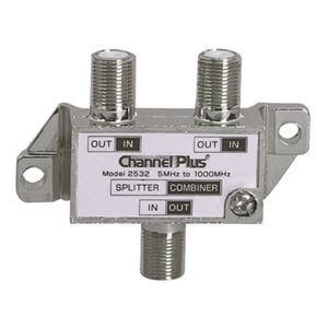 Channel Plus 2532 2 Way Splitter Combiner Bi-Directional 1 GHz Video Signal Coaxial DC Block Coax Cable Splitter UHF / VHF TV Antenna Combiner, 5-1000 MHz, Part # 2532