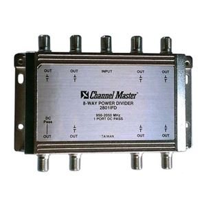 Channel Master 2801IFD 8-Way Splitter 2 GHz Power Divider 950 - 2050 MHz 1 Port DC Passive Splitter 1 Input 8 Output Satellite High Frequency UHF / VHF Video Signal TV Antenna Coax Cable, Part # 2801-IFD