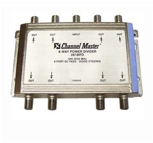 Channel Master 8 Way 2 GHz Power Splitter DC Passing All Port Satellite Divider / Combiner with Diode Protection High Frequency UHF / VHF Video Signal TV Antenna Coax Cable, 950-2050 MHz, Part # 2218IFD