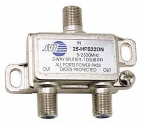 2 GHz 2 Way Splitter Satellite High Frequency Video All Port Passive Combiner JVI HFS-22DN DC Coaxial Cable Digital TV Antenna Dish Receiver Signal, Low Loss, Part # HFS22DN