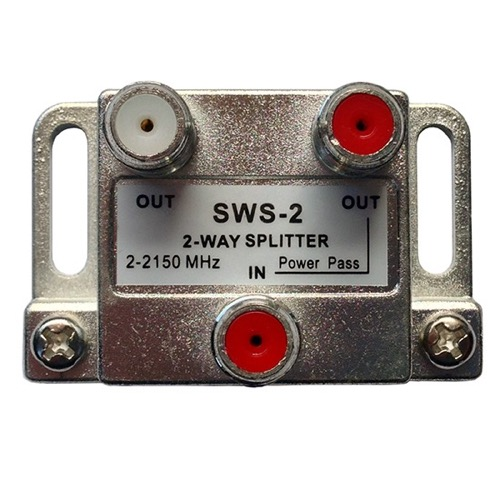 DIRECTV SWS2WB SWM 2-Way Splitter Wide Band Approved Single SWIM Cable 2 - 2150 MHz Satellite 1-Port Power Passing Zinwell SPLIT2-Z Slim Line SWM Technology 1 Input 2 Output High Isolation Slimline Satellite Splitter, Part # SWS-2