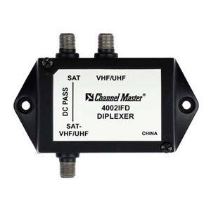 Channel Master 4002P Satellite Diplexer Combiner DC Passive Commercial Grade High Performance UHF/VHF Antenna Signals 2 GHz 950 - 2150 MHz Combining HDTV Antenna / Satellite Signal Diplexer with Weather Boots, Part # 4002-P