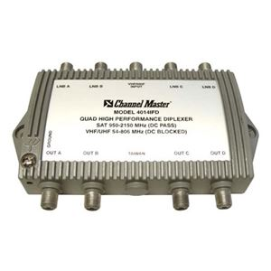 Channel Master 4014IFD Quad Diplexer 4 Way Satellite Antenna UHF/VHF CM-4014 IFD 5x4 Quad Diplexer with DC Pass High Performance In-line IF Combiner Digital Video Signal, Part # CM4014-IFD