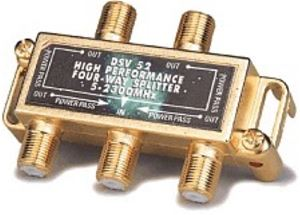 Gemini Gold Plate 4-Way Splitter for Coaxial Cable 75 Ohm 1-Input 4-Output Signal Splitter Video Cable Coaxial Antenna Balanced RF UHF VHF Separator