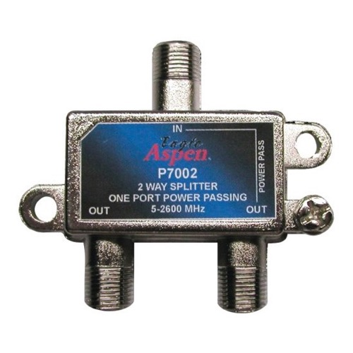 Eagle Aspen P7002 2-Way Splitter 1 Port DC Power Passing 2 GHz 5-2600 MHz Splitter Power Passing Satellite CATV Off-Air Signals UHF/VHF Video Splitter, Part # P-7002