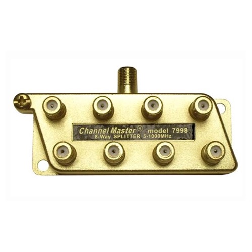 Channel Master 7998 8-Way Splitter 1 GHz Gold DC All Port Power Passive UHF/VHF 5 - 1000 MHz Coaxial Cable Commercial Grade HDTV Antenna Signal, Part # 7998