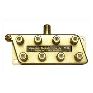 Channel Master 7998 8 Way Splitter 1 GHz UHF/VHF 5 - 1000 MHz Coaxial Cable Commercial Grade HDTV Antenna Signal, Part # 7998