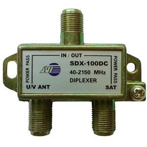 JVI Diplexer Satellite 2 GHz Signal DC Pass All Ports Both for Amplified Off-Air Antenna or Pre-Amplifier Use Commercial Grade Mini Signal Combiner Video 75 Ohm Digital Coaxial Cable, Part # SDX-100DC, SDX100DC