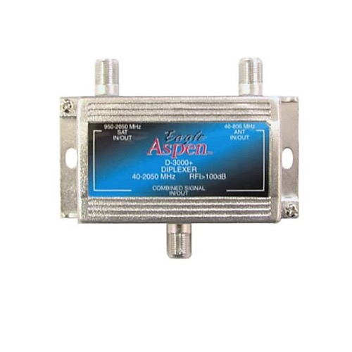 Eagle Aspen D-3000+ Satellite Diplexer Trunk Grade Pro Commercial 40 - 2050 MHz 2 GHz Diplexer Combine Signals from LNB Signal Satellite Off-Air Cable TV Signal, Part # D3000