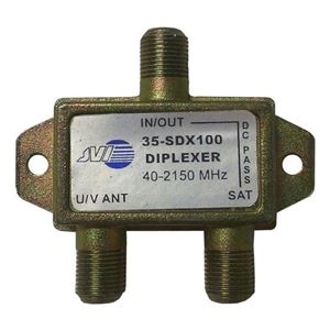 Satellite Antenna Diplexer 4 Pack Lot One Port DC Passive Off-Air Digital UHF / VHF TV Signal Coupler Mini Splitter Mixer, 75 Ohm 1 GHz, Part # JVI 35-SDX100