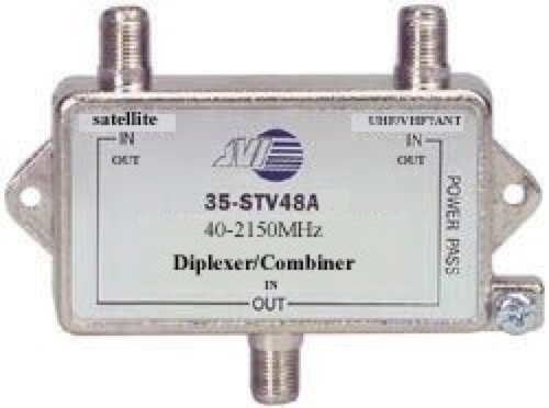 2 GHz TV Satellite Diplexer Mixer Commercial Grade JVI Single Combiner Outdoor HDTV Signal Splitter Mixer Video Off-Air / Sat Dish Feed Mixer, Part # 35-STV48A