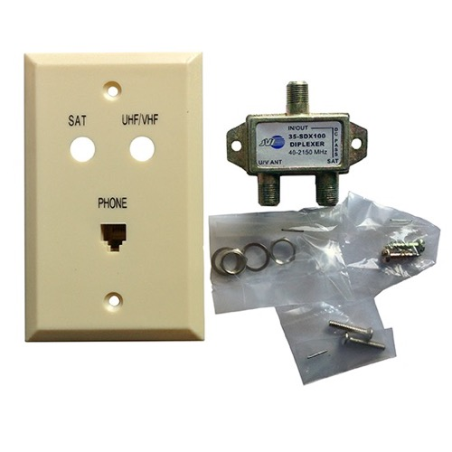 Diplexer Wall Plate Phone Jack Modular RJ11 RJ-11 Coax Cable Satellite Combo Ivory Flush Mount Jack Outlet Cover Digital Video Signal Off-Air Antenna Satellite Dish, DC Power Passing, Part # JVI Mini 35-SDX100