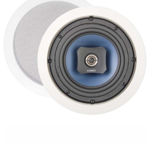 "NXG NX B6C 6.5"" Inch 2-Way In-Ceiling Speaker 1 Pair 60 Watts Max, Mica Filled Polylaminate Cone Woofer with Rubber Surround, Integrated C-Clamp Mounting System, Paintable Metal Grille, Part # NXB6C"