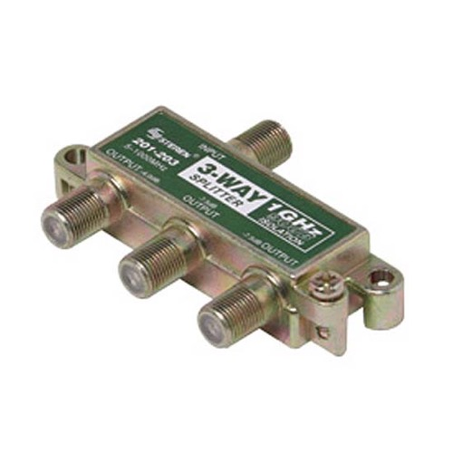 Steren 201-203 3-Way Splitter 1 GHz 90 dB F-Type CATV 75 Ohm 5 - 1000 MHz Balanced Isolation 6.5 dB Max Insertion Loss Port - Port 29 dB Min Isolation Solder Back Cover High Performance Printed Circuit Board, Part # 201203