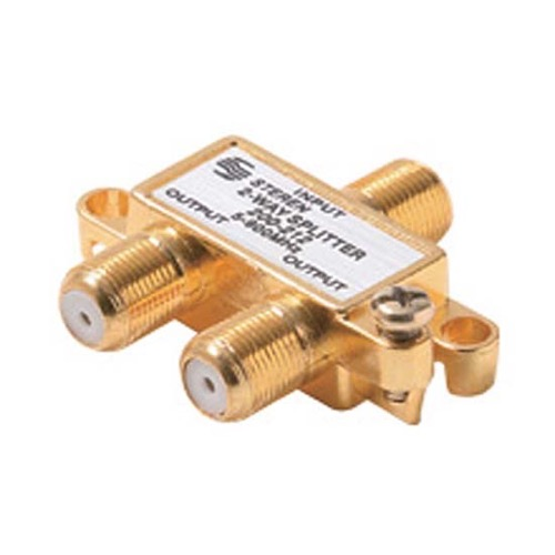 RCA VH47 2-Way Mini 5 - 900 MHz to F-Splitter Gold Plate 75 Ohm H Type Cable MATV Signal UHF/VHF Signal Antenna Coaxial Cable Connections, Part # VH-47