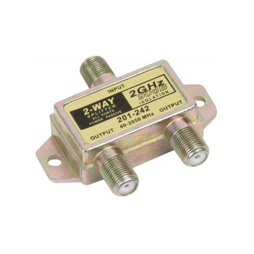 Steren 201-242 2-Way 2 GHz 90 dB Satellite Splitter All Port DC Power Passive RF Shielded 2.5 GHz 75 Ohm F-Type High Frequency 40 - 2400 MHz Video Coaxial Cable Digital Receiver TV Antenna Signal Combiner, Part # 201242
