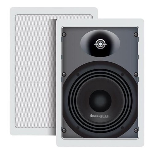 "Sequence 730-103 Essential Series Two Way 6 1/2"" In Wall Speakers One Pair 80 Watt 90 dB By Steren"