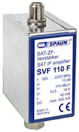 Spaun SVF-10 F In-Line Satellite Amplifier, Powered Video Signal Amplifier Splitband 10 dB for DSS DBS Satellite Dish TV Aerial Antenna CATV, Commercial Grade, Part # SVF 110F, SVF110F