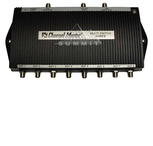 Channel Master 6328IFD 3X8 IF Multiswitch with 120V to 24VDC Power Supply Active UHF/VHF Input 5 dB Amplified 8 Satellite Distribution LNB 950 - 2050 MHz Commercial In-line IF Combiner, Part # CM6328-IFD