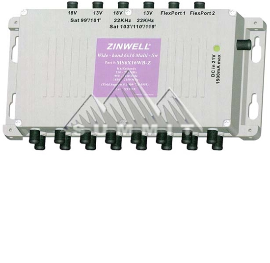 Zinwell MS6X16WB-Z DIRECTV Wide Band 6x16 Multi-Switch Support AT9 KA/KU 250 - 2150 MHz MPEG-4 Capable Satellite Dish Antenna Multiswitch, AC/DC Power Adapter, Part # MS-6X16-WB-Z | Open Box Item