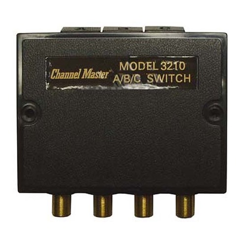 Channel Master CM 3210 Coaxial A/B/C Switch 3-75 Ohm Inputs 80 dB High Isolation RF CATV Loss Less Than 1.2 dB Band 0-890 MHz 3-Way ABC Switch A/V Video Selector Satellite Dish Off-Air HD TV Antenna Digital Signal Connection, Part # CM3210