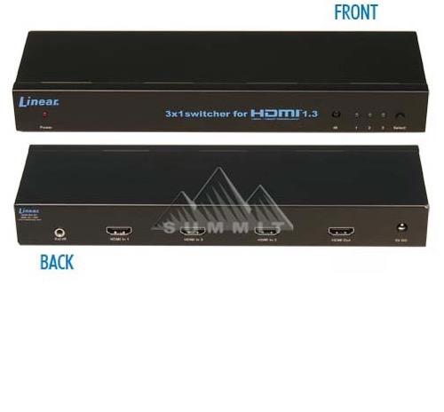 Linear HDMI-SW-3X1 HDMI-SW-3X1 HDMI Switch STB DVR DVD 3 Input Sources to 1 Output Digital HDTV 1080p with Multichannel HDCP Compliant 1.3 Multi-Media Interface Switch Hub, Part # HDMISW-3X1