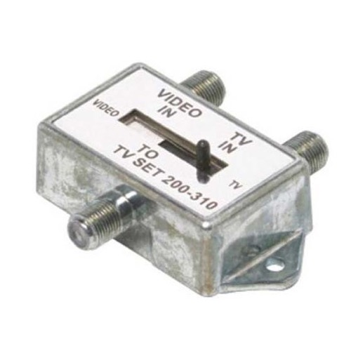 Summit AB Switch Slide 2 Way 2 75 Ohm In 1 RG6 RG59 Out Pro Brand Coaxial RG-6 RG-59 AB Slide Video 2 Way Selector UHF / VHF TV Antenna Signal Dual Source with F Connector, Low Loss 60 dB Isolation, Part # PB1