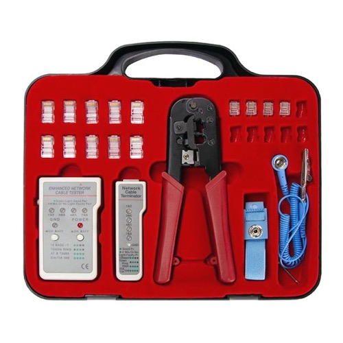 Vanco Network Cable Test Kit with Crimping Tool Modular CAT5 Terminator Plugs RJ45 RJ11 Connectors Tester with Grounding Strap and Storage Case Professional Grade Crimper RJ-45 RJ-11, Part # 1015EK