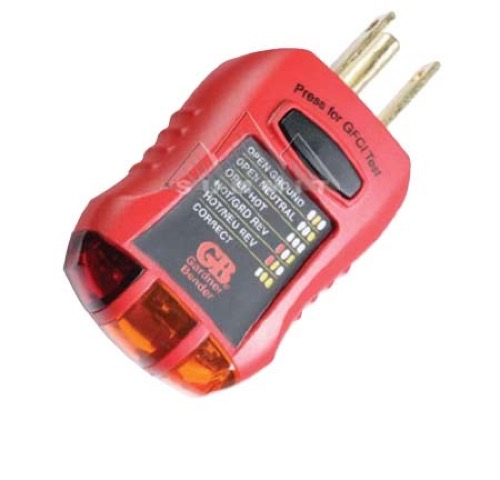 GB Gardner Bender GFI-3501 Outlet Tester Ground Fault Receptacles Overloading Circuit Electrical Neon Lamp Indicates Wiring Analyzer Standard and GFCI 3-Prong Outlets for Proper Wiring, Part # GFI3501