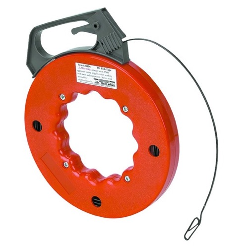 "Eagle 50' FT Fish Tape Reel 1/8"" Inch Steel Cable Wire Puller Tool Heavy Duty ABS Housing #70 Carbon Steel, Wall Cable Run Fish Tape High Impact Durable Construction with Easy Grip Handle"