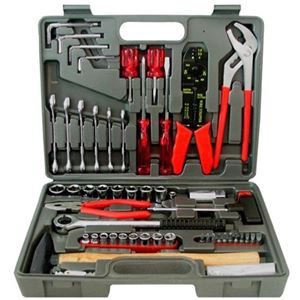 Eagle 100 Piece Metric Tool Repair Kit with Hard Carrying Case, Do It Yourself Project Repair Kit Wrenches Sockets Pliers Hammer Tester Screw Drivers Installation Work Tools
