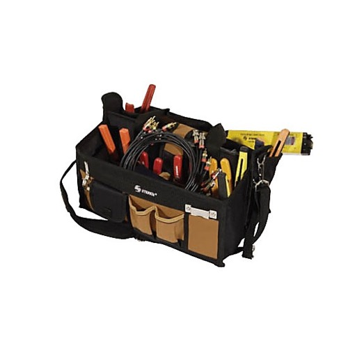 "Steren 204-451 15 Pocket Tool Bag 16"" Inch Center Tray Compartment Brown Canvas Tool Pouch Carry Bag with Comfort Handle and Shoulder Strap, Professional Grade, Part # 204451"