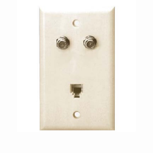 Eagle Phone Dual F Wall Plate Almond Video Connector RJ11 6P4C Modulator Jack F-81 / RJ-11 Telephone Wall Plate Modular Coax Cable Satellite Combo Flush Mount Outlet Cover