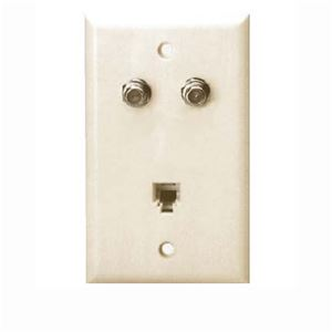Channel Master Dual F-81 Video Wall Plate Phone Jack Almond 4005IFD Modular RJ11 RJ-11 Coax Cable Satellite Combo Flush Mount Outlet Cover, Part # 4005-IFD